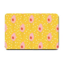 Flower Floral Tulip Leaf Pink Yellow Polka Sot Spot Small Doormat  by Mariart