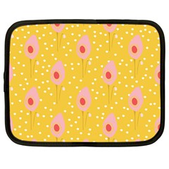Flower Floral Tulip Leaf Pink Yellow Polka Sot Spot Netbook Case (large) by Mariart