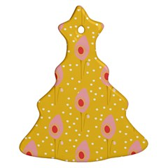 Flower Floral Tulip Leaf Pink Yellow Polka Sot Spot Ornament (christmas Tree)  by Mariart
