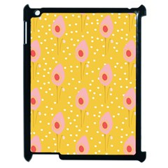 Flower Floral Tulip Leaf Pink Yellow Polka Sot Spot Apple Ipad 2 Case (black) by Mariart