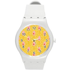Flower Floral Tulip Leaf Pink Yellow Polka Sot Spot Round Plastic Sport Watch (m) by Mariart