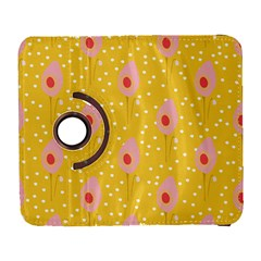 Flower Floral Tulip Leaf Pink Yellow Polka Sot Spot Galaxy S3 (flip/folio) by Mariart