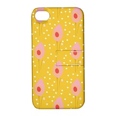 Flower Floral Tulip Leaf Pink Yellow Polka Sot Spot Apple Iphone 4/4s Hardshell Case With Stand by Mariart