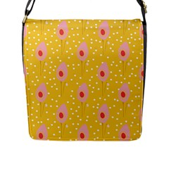 Flower Floral Tulip Leaf Pink Yellow Polka Sot Spot Flap Messenger Bag (l)  by Mariart
