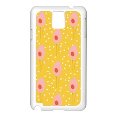 Flower Floral Tulip Leaf Pink Yellow Polka Sot Spot Samsung Galaxy Note 3 N9005 Case (white) by Mariart
