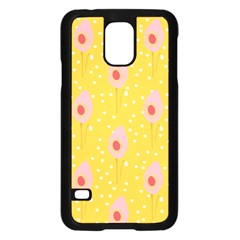 Flower Floral Tulip Leaf Pink Yellow Polka Sot Spot Samsung Galaxy S5 Case (black) by Mariart