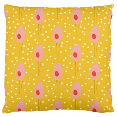 Flower Floral Tulip Leaf Pink Yellow Polka Sot Spot Large Flano Cushion Case (two Sides)