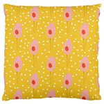 Flower Floral Tulip Leaf Pink Yellow Polka Sot Spot Large Flano Cushion Case (Two Sides) Back