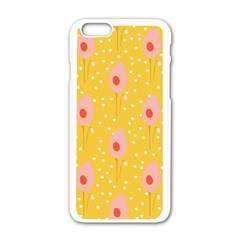 Flower Floral Tulip Leaf Pink Yellow Polka Sot Spot Apple Iphone 6/6s White Enamel Case by Mariart