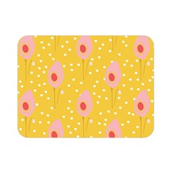 Flower Floral Tulip Leaf Pink Yellow Polka Sot Spot Double Sided Flano Blanket (mini)  by Mariart