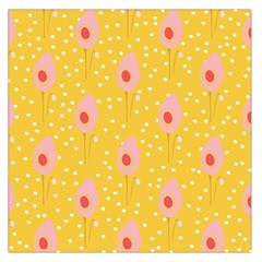 Flower Floral Tulip Leaf Pink Yellow Polka Sot Spot Large Satin Scarf (square) by Mariart