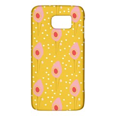 Flower Floral Tulip Leaf Pink Yellow Polka Sot Spot Galaxy S6 by Mariart