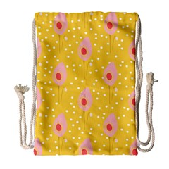Flower Floral Tulip Leaf Pink Yellow Polka Sot Spot Drawstring Bag (large) by Mariart