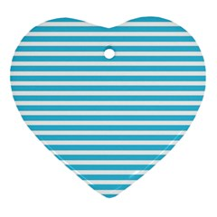 Horizontal Stripes Blue Ornament (heart) by Mariart