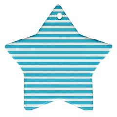 Horizontal Stripes Blue Ornament (star) by Mariart