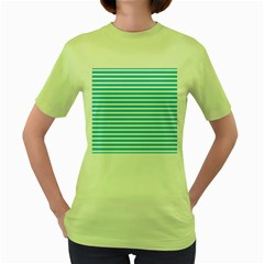 Horizontal Stripes Blue Women s Green T-shirt by Mariart