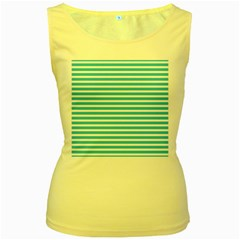Horizontal Stripes Blue Women s Yellow Tank Top by Mariart
