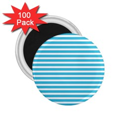 Horizontal Stripes Blue 2 25  Magnets (100 Pack)