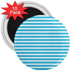 Horizontal Stripes Blue 3  Magnets (10 Pack)  by Mariart