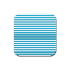 Horizontal Stripes Blue Rubber Square Coaster (4 Pack)  by Mariart