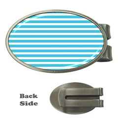Horizontal Stripes Blue Money Clips (oval)
