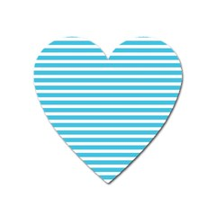 Horizontal Stripes Blue Heart Magnet by Mariart