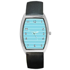 Horizontal Stripes Blue Barrel Style Metal Watch by Mariart