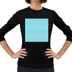 Horizontal Stripes Blue Women s Long Sleeve Dark T-shirts by Mariart