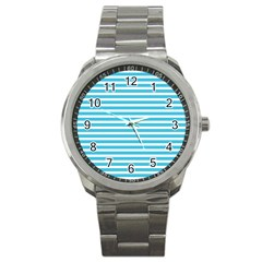 Horizontal Stripes Blue Sport Metal Watch by Mariart