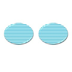 Horizontal Stripes Blue Cufflinks (oval) by Mariart