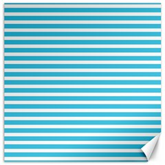 Horizontal Stripes Blue Canvas 16  X 16   by Mariart