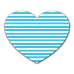 Horizontal Stripes Blue Heart Mousepads by Mariart