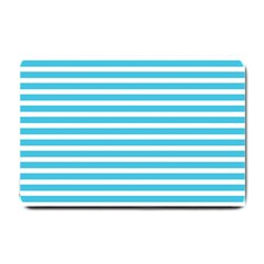 Horizontal Stripes Blue Small Doormat  by Mariart