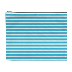 Horizontal Stripes Blue Cosmetic Bag (xl) by Mariart