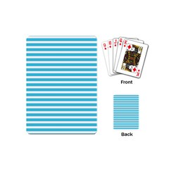 Horizontal Stripes Blue Playing Cards (mini)  by Mariart