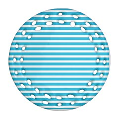Horizontal Stripes Blue Round Filigree Ornament (two Sides) by Mariart