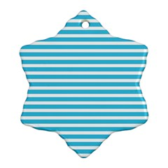 Horizontal Stripes Blue Snowflake Ornament (two Sides) by Mariart