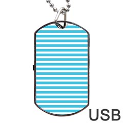 Horizontal Stripes Blue Dog Tag Usb Flash (two Sides) by Mariart