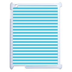 Horizontal Stripes Blue Apple Ipad 2 Case (white) by Mariart