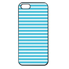 Horizontal Stripes Blue Apple Iphone 5 Seamless Case (black) by Mariart