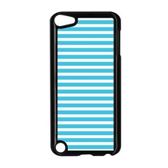 Horizontal Stripes Blue Apple Ipod Touch 5 Case (black) by Mariart