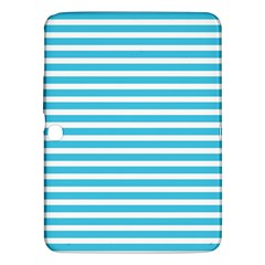 Horizontal Stripes Blue Samsung Galaxy Tab 3 (10 1 ) P5200 Hardshell Case  by Mariart