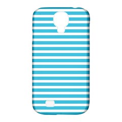 Horizontal Stripes Blue Samsung Galaxy S4 Classic Hardshell Case (pc+silicone) by Mariart