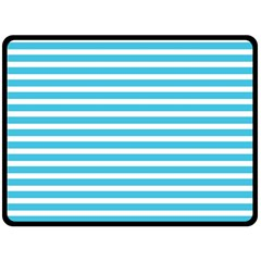Horizontal Stripes Blue Double Sided Fleece Blanket (large)  by Mariart