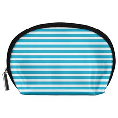 Horizontal Stripes Blue Accessory Pouches (large)  by Mariart