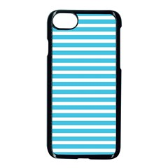 Horizontal Stripes Blue Apple Iphone 7 Seamless Case (black) by Mariart