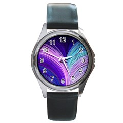 Color Purple Blue Pink Round Metal Watch by Mariart