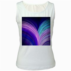 Color Purple Blue Pink Women s White Tank Top
