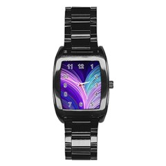 Color Purple Blue Pink Stainless Steel Barrel Watch by Mariart