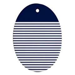 Horizontal Stripes Blue White Line Ornament (oval) by Mariart